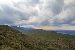 Mountains of Datca with clouds Stock Images