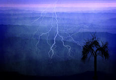 Mountains at dawn. With lightning and tree royalty free illustration