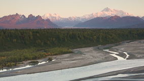 Mountains of the Denali Range Wide Shot Panning Across stock video
