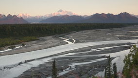 Mountains of the Denali Range Wide Shot Panning Across stock footage