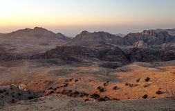 Mountains in the desert of Petra. In Jordan at sunset Royalty Free Stock Image
