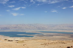 Mountains, desert, sea. View of the desert Negev and the Dead Sea, behind mountains Jordan Royalty Free Stock Photo