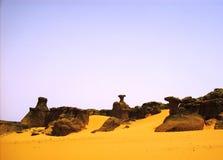 Mountains   in the  desert- tamenrasset,algeria Royalty Free Stock Image
