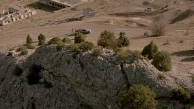 Mountains in the desert view from the sky. Aerial view on desert and mountain. beautiful views of Crimea stock footage