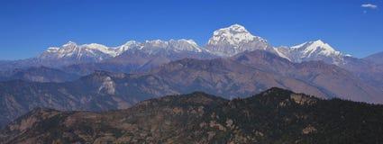 Mountains of the Dhaulagiri range, Nepal. Dhaulagiri, Tukuche Peak and other mountains of the Dhaulagiri range, Nepal. Seventh highest mountain of the world stock image