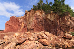 Mountains are digging for Utilization. Red soil and mountains are digging for Utilization Royalty Free Stock Photos