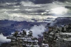 Autumn in Grand Canyon National Park, sunset in overcast day stock photo