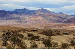 Mountains and Dunes in Death Valley Desert. A beautiful scenic of dunes and mountains in Death Valley, California Stock Photos