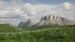 Mountains (Eastern and Western Acheshbok) under a blue sky with clouds stock video