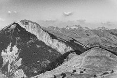 Mountains of Ecrins, France, BW. View of mountains in Ecrins, Delfinato region, France, BW Stock Photos