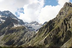 Mountains in Ecrins National Park, French Hautes Alpes stock photo
