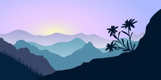 Mountains, edelweiss and forest at sunrise. landscape with silhouettes. Vector illustration. Hills, trees, mist, sun beam with sunrise or sunset sky. For vector illustration
