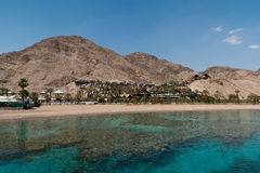 Mountains of Eilat. And corals in the Red sea from  center Eilat sealife Royalty Free Stock Image