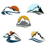 Mountains emblem set Stock Images
