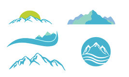 Mountains emblem set. Mountains  emblem icons set Royalty Free Stock Photo