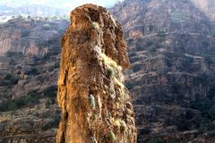 Mountains. An enormous vertical stone is on a mountain of kurdistan royalty free stock images