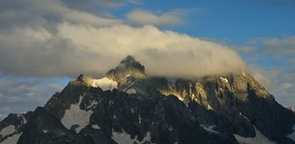 Mountains in evening. This is colorful summit in Caucasus mountains in evening Stock Images