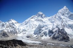 Mountains of Everest, Nuptse and Lhotse Stock Photos