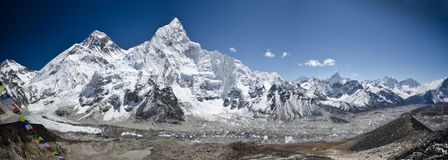 Mountains of Everest, Nuptse and Lhotse Stock Photo