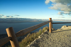 Mountains and fence. Landscape with mountains, lake and fence. Bariloche, Argentina Stock Photo