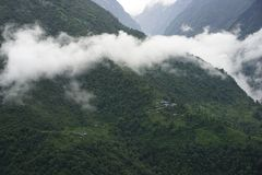 The mountains fields in Annapurna Circuit Stock Image