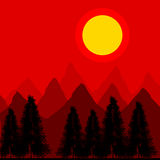 Mountains and fir trees. Mountains and fir trees by sunset Royalty Free Stock Image