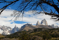 Mountains Fitz Roy and Cerro Torre Stock Photo