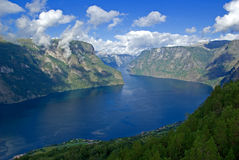 Mountains and fjord royalty free stock photography