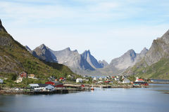 The mountains of fjord of  Reine in Lofoten Stock Photos