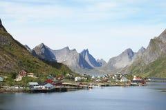 The mountains of fjord of  Reine in Lofoten Stock Photos