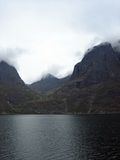 Mountains and Fjords in Norway with Low Clouds Stock Photo