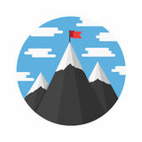Mountains with Flag Royalty Free Stock Images