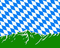 Mountains with flag of Bavaria Stock Photo