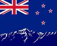 Mountains with flag of New Zealand Stock Images