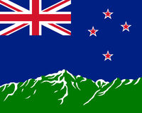 Mountains with flag of New Zealand Royalty Free Stock Photos