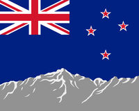 Mountains with flag of New Zealand Royalty Free Stock Photography