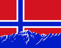 Mountains with flag of Norway Stock Photography