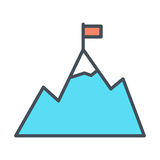 Mountains with flag on peak line icon. Goal achievement outline symbol. Vector Stock Photo