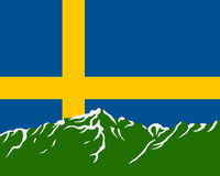 Mountains with flag of Sweden Royalty Free Stock Photography
