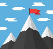 Mountains with Flags Royalty Free Stock Photography