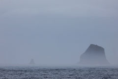 Mountains in fog, Antarctic landscape Royalty Free Stock Images