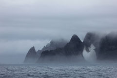 Mountains in fog, Antarctic landscape royalty free stock photography