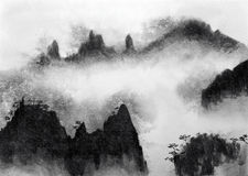 Mountains and fog. Chinese high mountains and mist Stock Photos