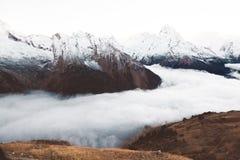 Mountains in fog Stock Photo