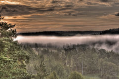 Mountains foggy landscape in HDR Royalty Free Stock Photo
