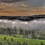 Mountains foggy landscape in HDR. Early morning fog in a Swedish mountains landscape in HDR royalty free stock images