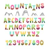 Mountains font. Hand drawn English alphabet. Stock Photography