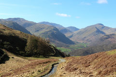 Mountains from footpath to Borrowdale, Lake District Stock Image