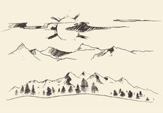Mountains Forest Contours Engraving Vector Royalty Free Stock Image