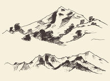 Mountains Forest Contours Engraving Vector Royalty Free Stock Photo